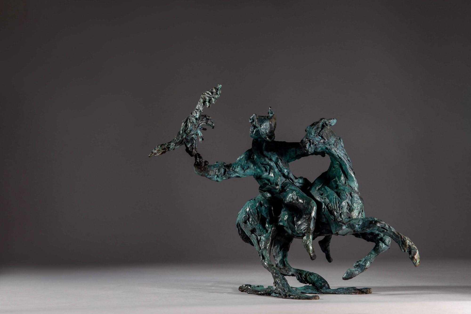 Sculpture - Bronze - Equestrian - Mongolian Horse Eagle 1