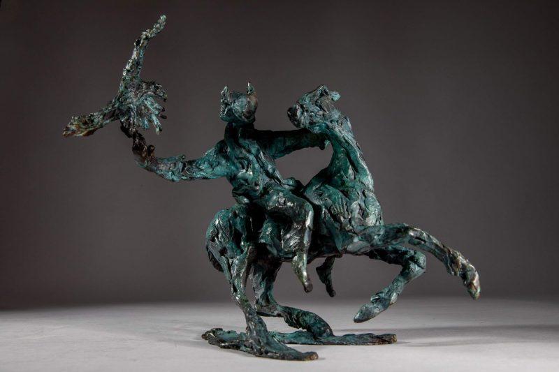 Sculpture - Bronze - Equestrian - Mongolian Horse Eagle 2
