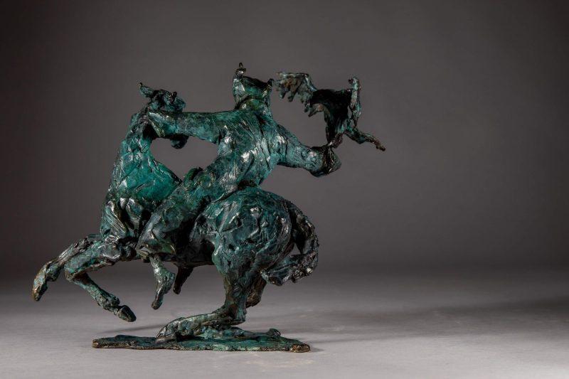 Sculpture - Bronze - Equestrian - Mongolian Horse Eagle 3