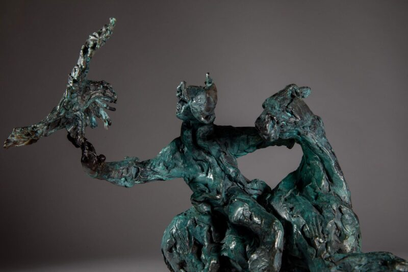 Sculpture - Bronze - Equestrian - Mongolian Horse Eagle 4