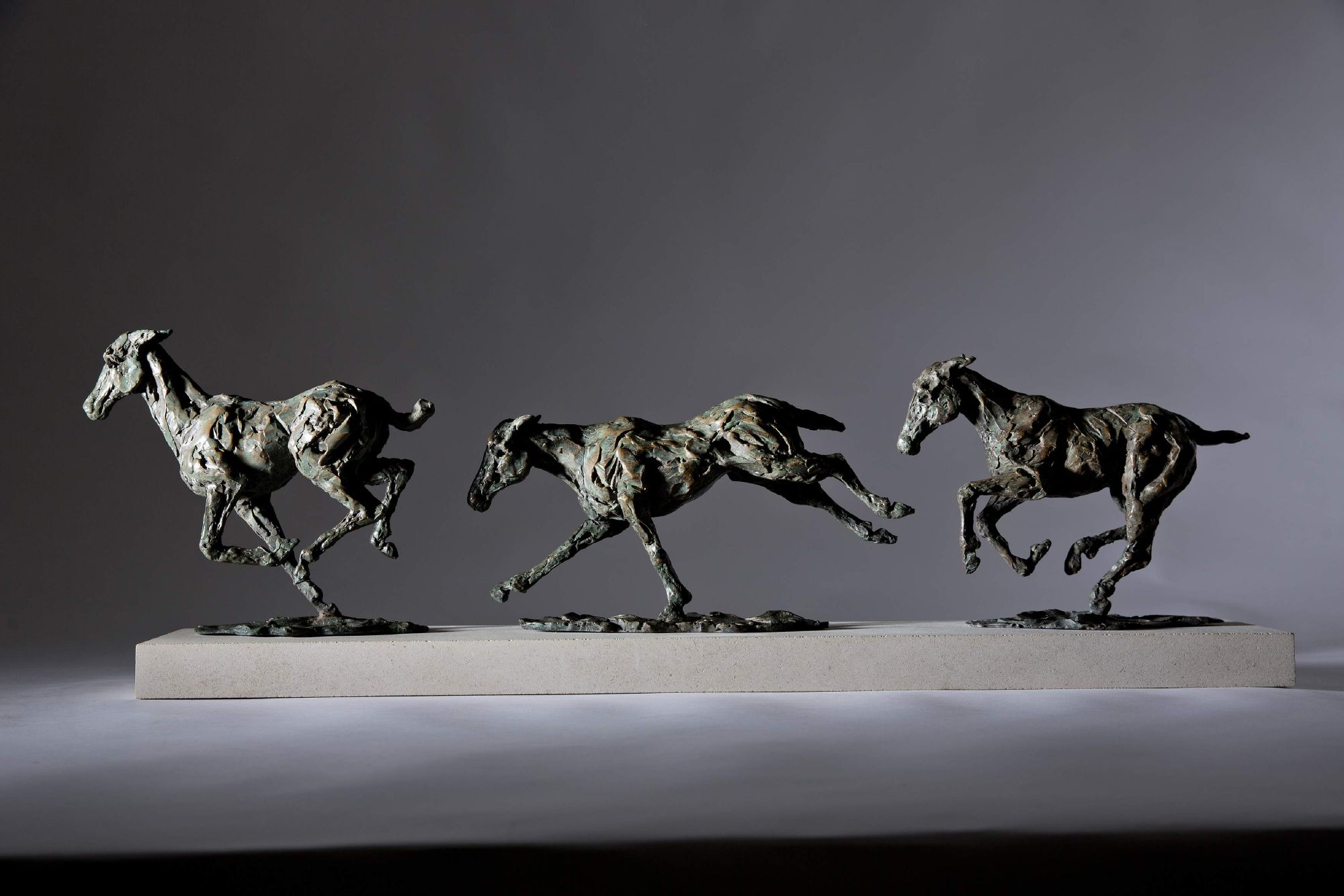 Sculpture - Bronze - Equestrian - Galloping Horses 1