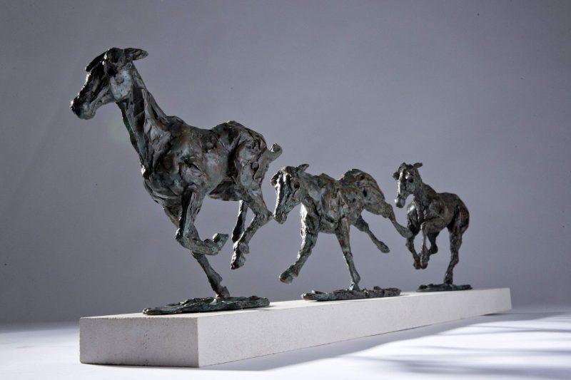 Sculpture - Bronze - Equestrian- Galloping Horses 14