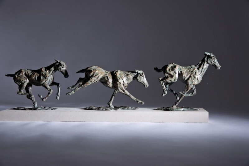 Sculpture - Bronze - Equestrian - Galloping Horses 2a