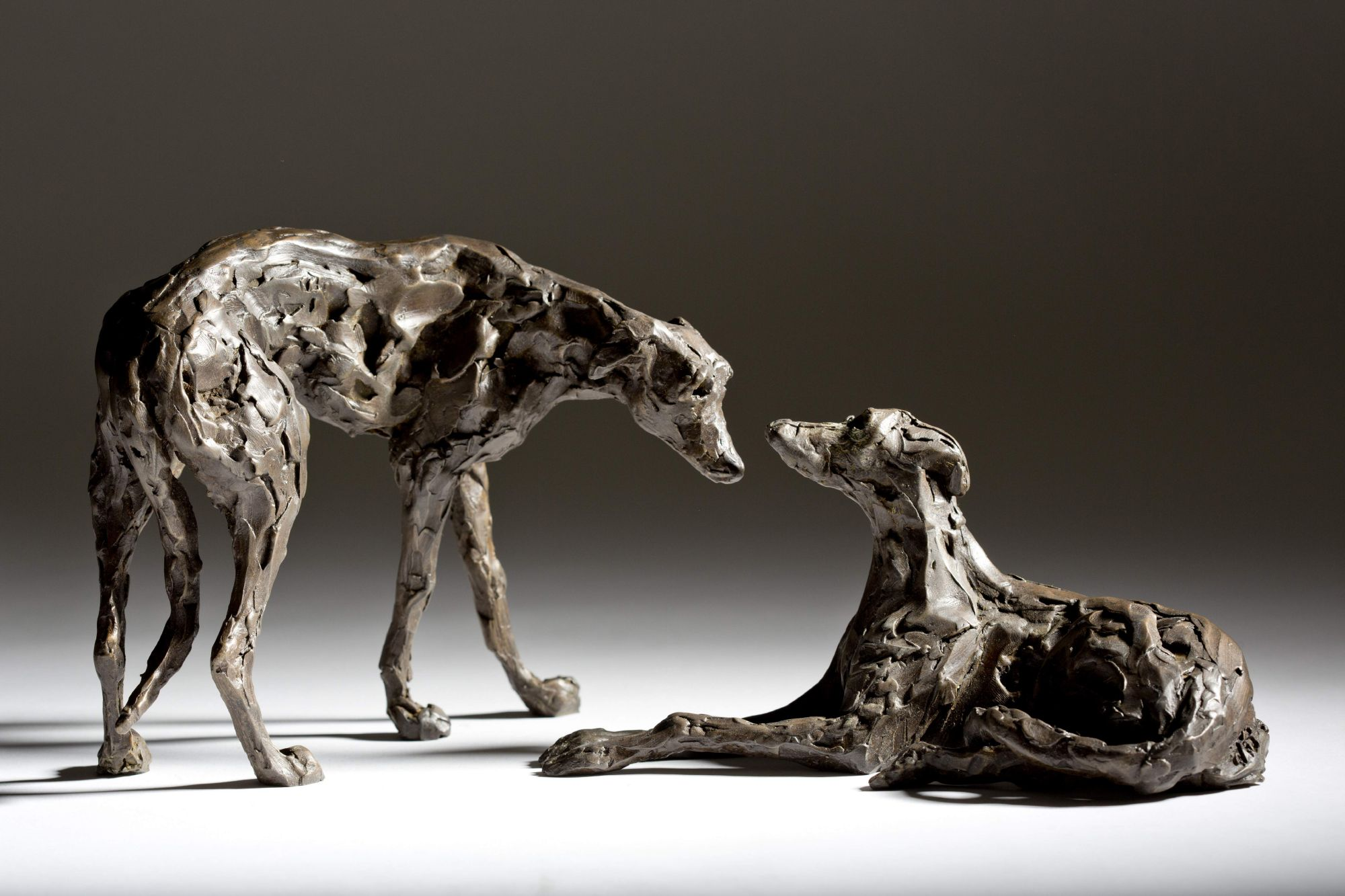 Sculpture - Bronze - Domestic Animal - Pair of Lurchers 1
