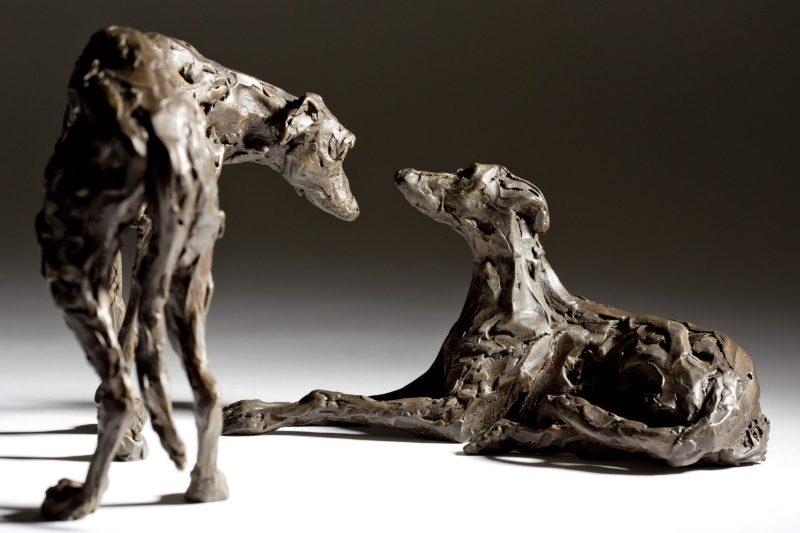 Sculpture - Bronze - Domestic Animal - Pair of Lurchers 2