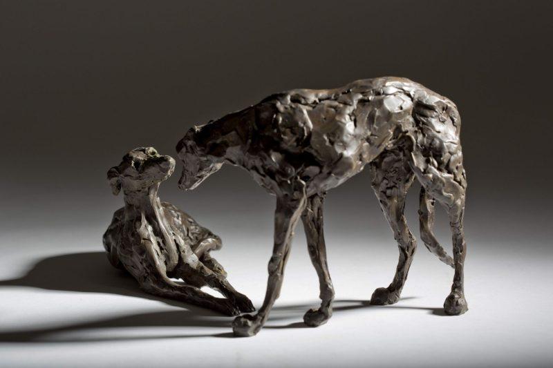 Sculpture - Bronze - Domestic Animal - Pair of Lurchers 4