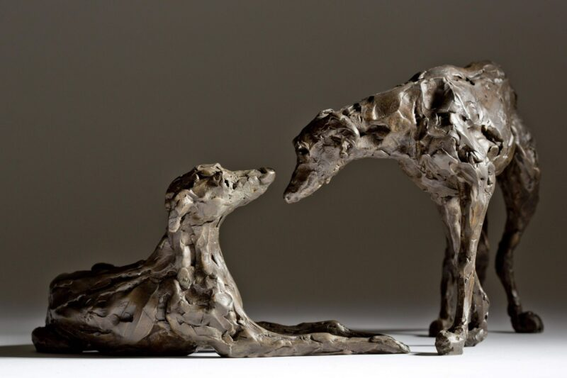 Sculpture - Bronze - Domestic Animal - Pair of Lurchers 5