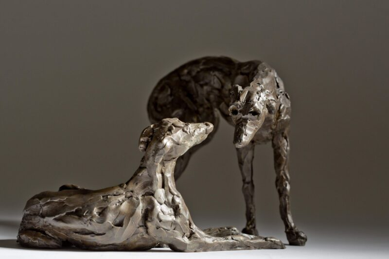 Sculpture - Bronze - Domestic Animal - Pair of Lurchers 7