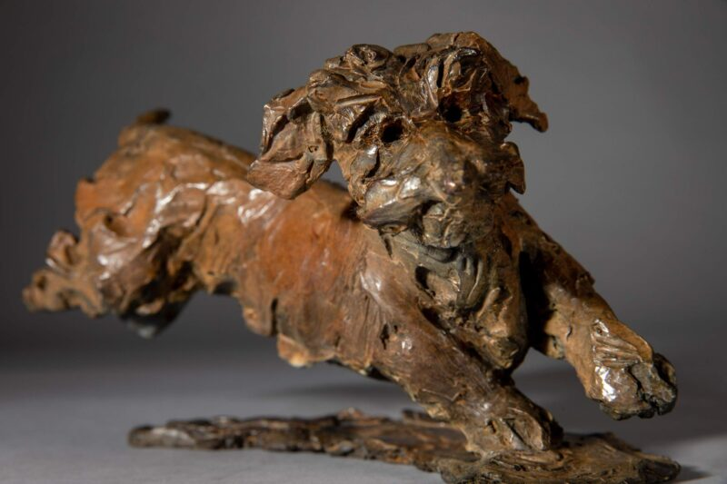 Sculpture - Bronze - Domestic Dog - Dachshund Leaping 2