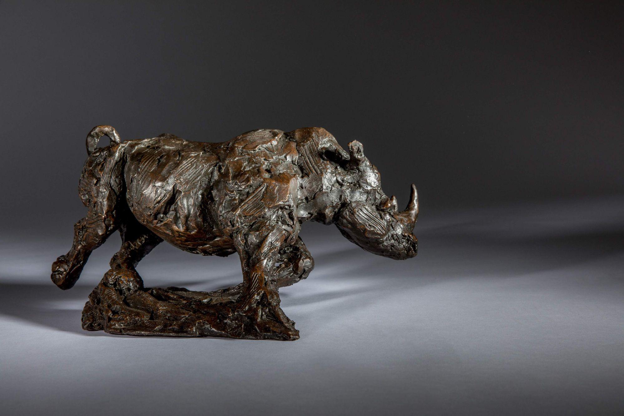 Sculpture - Bronze - Wildlife - Charging Rhino 1