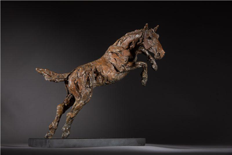 Sculpture - Bronze - Equestrian - Jumping horse 1R