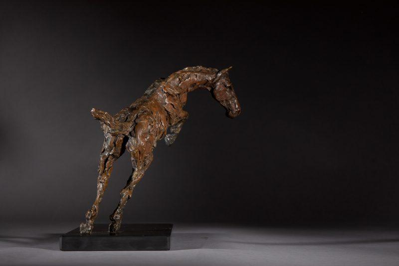 Sculpture - Bronze - Equestrian - Jumping horse 2R