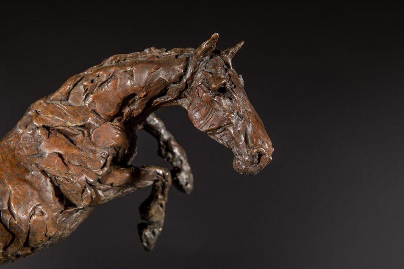 Sculpture - Bronze - Equestrian - Jumping horse 4R
