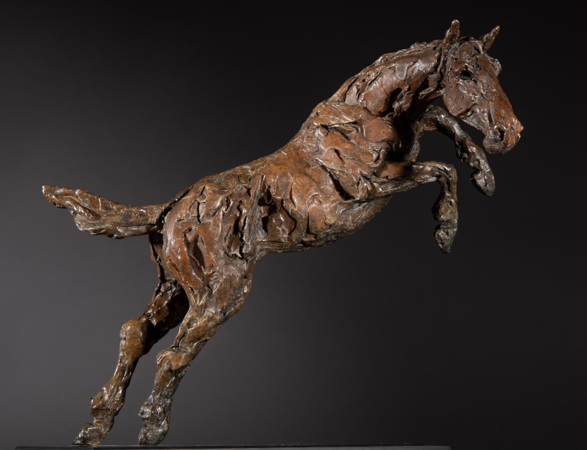 Sculpture - Bronze - Equestrian - Jumping horse 1